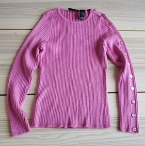 Liz Claiborne Classic button sleeve ribbed sweater